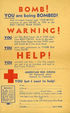 These leaflets were dropped from an airplane over Oakland on April 1, 1944 as part of raising funds for the American Red Cross.