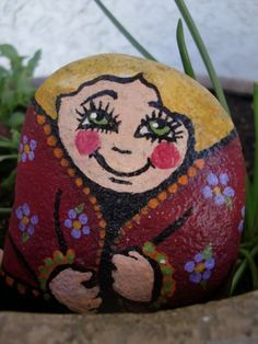 THE FARMER'S WIFE - painted rock lady