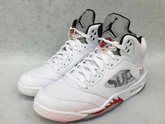 84441340de6a Nike Air Jordan V 5 Retro SUPREME WHITE BLACK FIRE RED SILVER