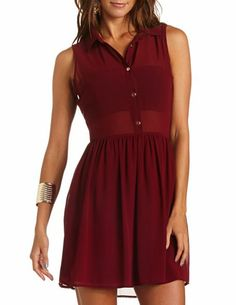Bar Back Button-Down Chiffon Dress: Charlotte Russe (could also go with black tights)
