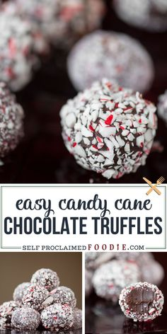 Easy Candy Cane Chocolate Truffles Rich and delicious Easy Candy Cane Chocolate Truffles take very little time to make and are the perfect peppermint holiday treat that y. Christmas Desserts, Christmas Treats, Holiday Treats, Fun Desserts, Holiday Recipes, Delicious Desserts, Dessert Recipes, Christmas Chocolate, Holiday Candy
