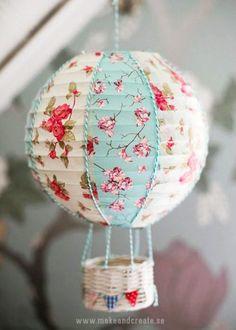 2014 hot balloon with flower  paper lantern diy - little bunting, basket crafts