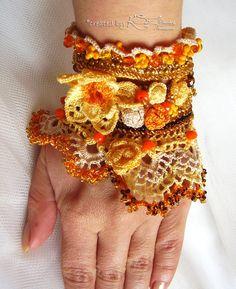 Crochet cuff bracelet Yellow beaded cuff by KSZCrochetTreasures