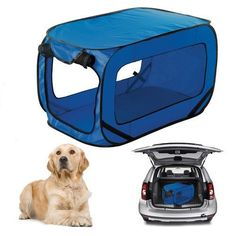 Kennel Dog Canvas Pop Up Travel Cage Run Light Weight Portable Blue Mesh Puppy *** Click image to review more details.