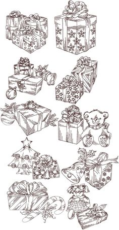 Advanced Embroidery Designs - Christmas Gifts Redwork Set
