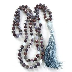 Red Lightening Fire Agate Mala - Aquamarine Mala Beads - Quiet The Mind Mala - Hand Knotted - 108 Bead […] Jewelry Design, Jewelry Ideas, Diy Jewelry, Jewelry Making, Beaded Necklace, Beaded Jewellery, Strand Necklace, Gemstone Beads, Natural Gemstones