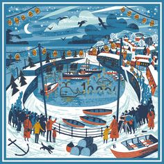 Mousehole lights illustration scarf print by Matt Johnson for Seasalt Cornwall https://www.seasaltcornwall.co.uk/accessories/scarves-shawls