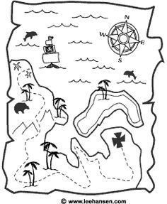 Pirate Treasure Map...great to tea-stain, roll up with twine & put in goody bag for the kids. {free printable} #pirate party