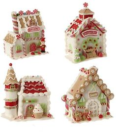 """Gingerbread Candy House, by Raz Imports.  Small-sized gingerbread house full of sweet candy accents!  Sold individually from the four shown.  Choose the Top Left (""""Elves Cottage""""), Top Right (Reindeer Barn), Bottom Left (ice cream cone castle), or Bottom Right (""""Candy Sprinkles"""").  Part of the Candy Sprinkles Collection. Measures 5-4.5 X 3.5-5.5 X 2.5-4 inches. - The Weed Patch"""