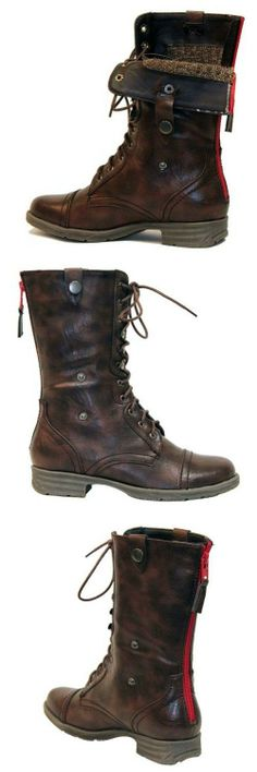 Reneeze DY-B1307 Womens Mid-Calf Combat boots w/ Foldable Lace Up Shaft - BROWN