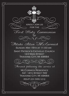 Chalkboard First Communion Invitations