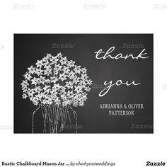 Rustic Chalkboard Mason Jar Flowers Thank You 5x7 Paper Invitation Card