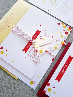 Modern polka dots | Wedding invitation suite by http://tabibidesign.com