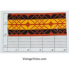 "Non-Embroidered Jacquard 2"" (Per Yard) (Burnt Orange/Black/ Golden Yellow)"