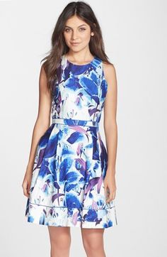Vince Camuto Floral Print Stretch Cotton Fit & Flare Dress (Petite) available at #Nordstrom