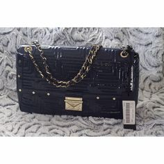 Blue Versace Flap Bag with gold chain strap Blue Versace flap bag with quilted details and gold chain shoulder straps Versace Bags Shoulder Bags