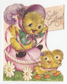 Vintage Greeting Card Easter Cute Chicks Riding Egg Rust Craft Die Cut 1940s | eBay