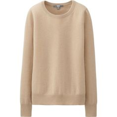 UNIQLO Cashmere Round Neck Sweater (3.315 RUB) ❤ liked on Polyvore featuring tops, sweaters, jumper, shirts, shirt sweater, layered sweater, beige sweater, crew sweater and cashmere crewneck sweater