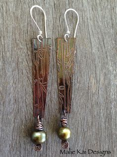 Art Jewelry Elements Earring Challenge #8 (Feb 24, 2013) - Etched Copper by me with Freshwater Pearl