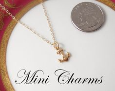 Mini Anchor Necklace  Gold Anchor Charm Gold by queeniejewels