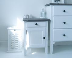 New England Bedside Cabinet with Grey Top