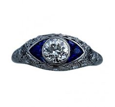 Art Deco Sapphire Ring circa 1920's #weddings