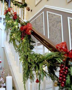 Deck the Halls Beautiful Christmas Banister Christmas Stairs, All Things Christmas, Christmas Time, Christmas Holidays, Christmas Wreaths, Christmas Crafts, Merry Christmas, Christmas Decorations, Christmas Ideas