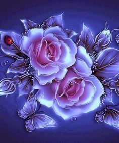 By Artist Unknown - Herz - Blumen Flowery Wallpaper, Flower Phone Wallpaper, Butterfly Wallpaper, Rose Wallpaper, Beautiful Rose Flowers, Beautiful Flowers Wallpapers, Pretty Wallpapers, Photo Rose, Canvas Wall Decor
