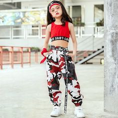 Jazz Dance Costume Kids Hip Hop Clothing Girls Street Dancing Outfit Camo Print Crop Top And Pants Halloween Hip Hop Outfits, Hipster Outfits, Cute Comfy Outfits, Crop Top Outfits, Cute Girl Outfits, Cool Outfits, Tomboy Outfits, Teenage Girl Outfits, Girls Fashion Clothes