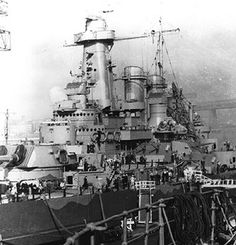 View of the superstructure of North Carolina, New York Navy Yard, Brooklyn, New York, United States, circa Apr 1941