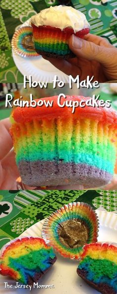 The Jersey Momma: How to Make Rainbow Cupcakes: A DIY Tutorial, St. Patrick's Day, rainbows,