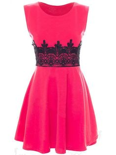 95de904461 Fashionmia - Fashionmia Decorative Lace Sleeveless Round Neck Skater Dress  - AdoreWe.com