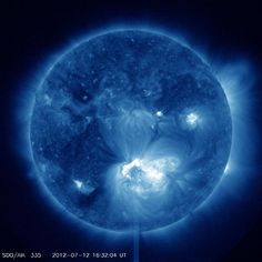 Major Solar Flare Erupts From Giant Sunspot | The sun unleashed a huge flare Thursday (July 12), the second major solar storm to erupt from our star in less than a week.
