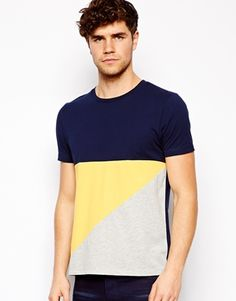 Image 1 ofASOS T-Shirt With Cut And Sew Panels