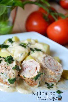 Roladki schabowe w sosie śmietanowo-musztardowym, Roladki schabowe z szynką i serem w sosie śmietanowo-musztardowym, roladki schabowe w sosie. Szybki obiad.