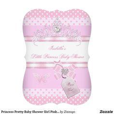 Princess Pretty Baby Shower Girl Pink Polka Dots 5x7 Paper Invitation Card
