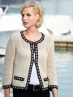 Ravelry: 1907 - Ladies Jacket pattern by Renate Foos Gilet Crochet, Crochet Coat, Crochet Jacket, Crochet Cardigan, Knit Jacket, Crochet Clothes, Chanel Style Jacket, Chanel Jacket Trims, Jackets For Women