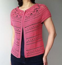 Irene - floral lace yoke cardigan by  Vicky Chan Designs. Not free pattern.