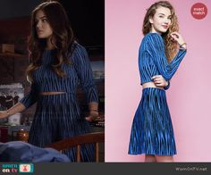 Aria's blue tiger striped crop top and skirt set on Pretty Little Liars Lucy Hale Outfits, Pll Outfits, Pretty Little Liars Outfits, Pretty Little Lairs, Fashion Tv, Fashion Outfits, Aria Montgomery Style, Camila Mendes Riverdale, Aria Style