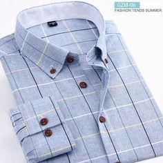 a6589ae7e67 Brand New Cotton Plaid Men Shirt Mens Dress Shirts Long Sleeve Slim Business  Formal Shirt Social Shirt Men