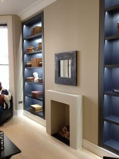 Bedroom Design with Chimney Breast - Bedroom : Home Decorating Ideas Living Room Cabinets, Living Room Shelves, Home Living Room, Alcove Shelving, Recessed Shelves, Wall Shelving, Oak Shelves, Shelving Ideas, Bedroom Chimney Breast