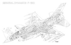 Lockheed F-16C Cutaway Drawing