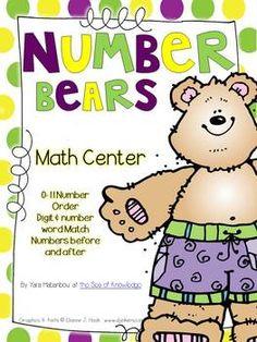 Number Bears {Order & Number Word Match} Freebie Math Center