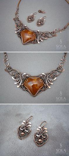 Copper Earrings and Necklace | Медные серьги и колье с симбирцитом — работа дня на Ярмарке Мастеров