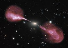 Combined Hubble (optical) and VLA (radio) images show enormous radio jets shooting out from the galaxy Hercules A