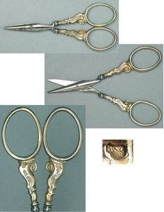 Antique French Gilded Silver Embroidery Scissors; Circa 1890