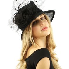 541487bf8d6 Elegant Victorian Netted Overlay Simamay Millinery Bucket Cloche Dress Hat  Black