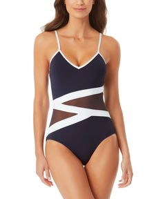 Black Swimsuit, One Piece Swimsuit, Anne Cole Swimwear, Swimsuit Cover Ups, Designer Swimwear, Navy And White, Kids Outfits, Swimsuits, Clothes For Women