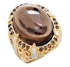 Dallas Prince Sterling Silver  18K Yellow Gold Plate Smokey Quartz Ring