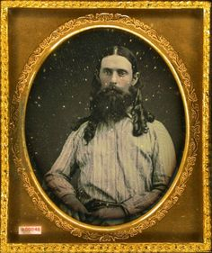 """David Hobby who went to California at the time of the gold fever in 1847. He always wore his hair long…"""